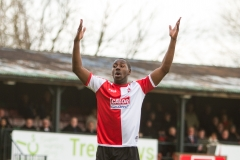 April 9 2016 - Kingfield Stadium - Woking - England - Woking Defender Danny Carr (23) rues a missed opportunity during the National League match between Woking & Gateshead.