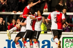 April 30 2016 - Kingfield Stadium - Woking - England - Woking Midfielder John Goddard (11) celebrates with team mates and fans during the National League match between Woking & Eastleigh.