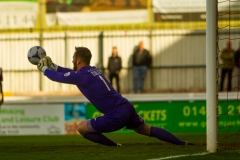 April 22 2016 - Kingfield Stadium - Woking - England - Woking Goalkeeper Jake Cole (1) saves during the National League match between Woking & Eastleigh.