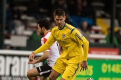 February 13 2016 - Kingfield Stadium - Woking - England - Guiseley Defender Danny Hall (12) during the National League match between Woking & Guiseley.