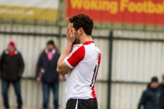 February 13 2016 - Kingfield Stadium - Woking - England - Woking Striker Giuseppe Sole (10) shows disappointment after missing a chance during the 1st half of the National League match between Woking & Guiseley.